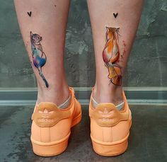 Cute Cats Back of Girls Legs