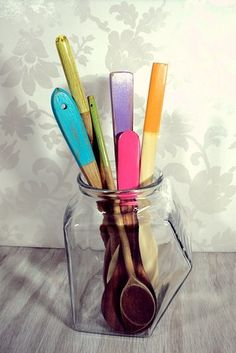 Painted wooden utensils will brighten up your kitchen. | 10 Easy Ways To Transform Your Space With Color
