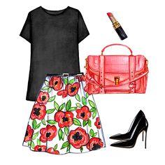 Black t-shirt outfit. Black basic t-shirt, floral skirt, black Casadei pumps, Proenza Schouler satchel, Chanel pink lipstick