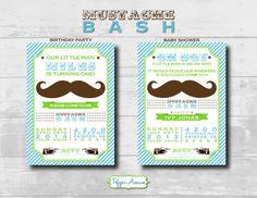 Mustache Bash Custom Party Invitations