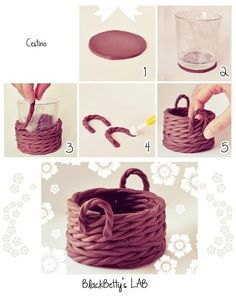 Fondant basket tutorial (via Sulia).DIY Clay Basket cute decor creative diy craft handmade diy ideas diy crafts do it yourself easy diy diy tips decorative easy crafts home crafts home diypolymer clay basket - would be good to fill with goodies for t Cake Decorating Techniques, Cake Decorating Tutorials, Decorating Supplies, Decorating Ideas, Fondant Toppers, Fondant Cakes, Fondant Baby, Cupcake Toppers, Baby Cupcake
