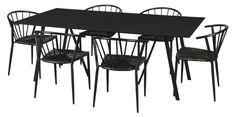 Coventry havemøbelsæt med 6 Lima stole - sort