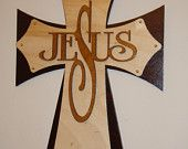 wood cross Jesus stacked wood crosses layered wood cross wall cross 15 inch