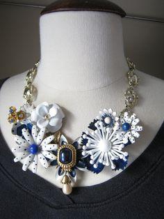 Statement Necklace Vintage Enamel Flowers by JenniferJonesJewelry, Etsy
