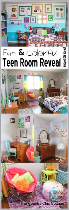 "A fun and colorful teen room reveal with tons of DIY ideas.  A great room on a budget with ideas for everyone!  (For when Joy's ""flavors"" mature. LZ)"