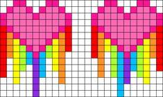 Dripping Rainbow Hearts For Earrings Perler Bead Pattern / Bead Sprite Fuse Bead Patterns, Kandi Patterns, Perler Patterns, Beading Patterns, Cross Stitch Patterns, Easy Patterns, Perler Beads, Perler Bead Art, Fuse Beads