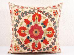 18x18 Vintage Hand Embroidered Uzbek Suzani Pillow