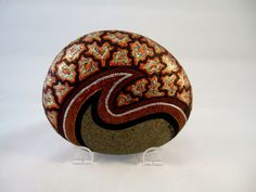 3 D Art Object, Hand Painted Rock, Signed Numbered Collectible, Copper Silver Gold Brocade Design with Brown and Black on Gray Stone, by #IshiGallery, $450.00