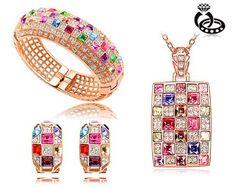 """Design by Ninabox – """"The Queen"""" Halskette-Ohrringe-Armreif-Set mit SWAROVSK ELEMENTS Kristallen mehrfarbig Anhänger Dazu noch eine Überrasch..."""