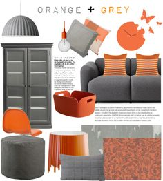 """Orange & Grey"" by occahome on Polyvore"