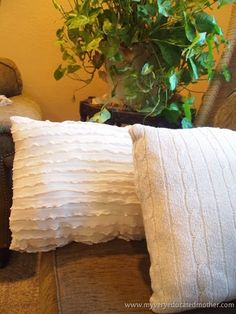 Recycled shirt pillows - make pillows from old sweaters and shirts -Sarah