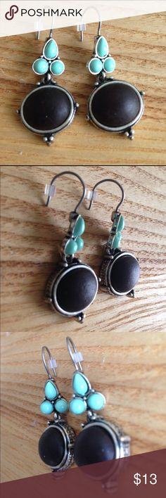 """Black & Mint Earrings Black circle with three mint ovals. Sliver frame and hooks. From Target. Measurement: about 1.5"""" length and 1"""" wide. Target Jewelry Earrings"""