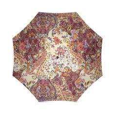 Vintage Jacobean Flower Tapestry Pattern Foldable Umbrella