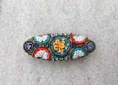 Victorian Antique Micro Mosaic Italian Brooch Millifiori Glass Tile and Brass Pin by AdornedInHistory on Etsy