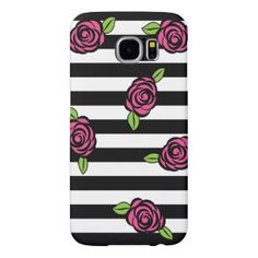 Black and White Striped with Pink Roses Samsung Galaxy S6 Case