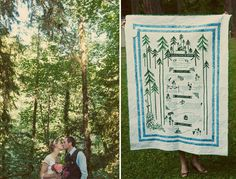 These people had their wedding invitation embroidered onto a quilt! what a neat idea