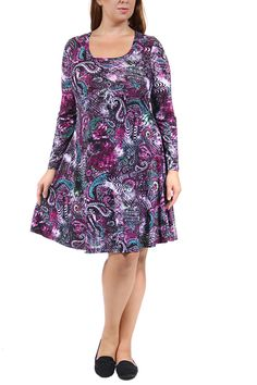 For a splash of bold flair on a classic cut for any event throughout the year, look no further than this stunning long sleeve sheath dress from 24/7 Comfort Apparel. With a scoop neckline, plus size, and knee-length hem, this simple dress is brought to life with a vibrant paisley print, sure to turn heads day and night.   Paisley Sheath Dress by 24/7 Comfort Apparel. Clothing - Dresses - Long Sleeve Clothing - Dresses - Printed California