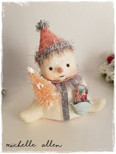 """Folk Art paper Clay Christmas SNOWMAN w clay bucket w bottle brush tree & tiny """" vintage card """" by Michelle Allen / Raggedy Pants Designs by RaggedyPantsDesigns on Etsy"""