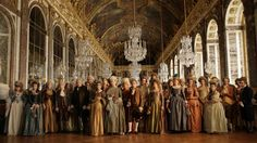 Crowd scene from Farewell My Queen, filmed at Palace at Versailles, France.