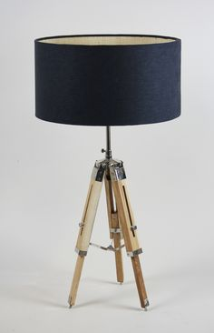 Handmade 40cm Shallow drum - Linen weave 'Black', Slub silk 'Gold' inner. Tripod table lamp available at https://www.cotterellandco.com/tripod-table-lamp-natural-wood-antique-brass-with-shade-options