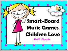 This is a page on teacherspayteachers.com that consists of different musical games teachers can play with students on the SMARTBoard.