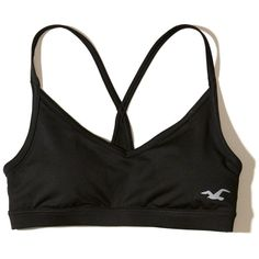 Hollister Strappy Back Sports Bra (500 CZK) ❤ liked on Polyvore featuring activewear, sports bras, black, strappy sports bra and v neck sports bra