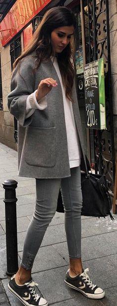 #winter #fashion /  Grey Coat   White Knit   Grey Skinny Jeans   Black Converse