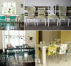 Of Dining Room Chairs... How awesome if we could find random chairs and houndstooth them?! @Sara-Margaret Cates