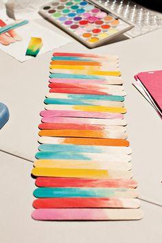 DIY Tutorial: Watercolor Popsicle Stick Table Runner