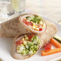 Fresh corn kernels, tomatoes and lettuce fill these hearty turkey wraps. This wrap is great for picnics or when you need to have dinner on the run.
