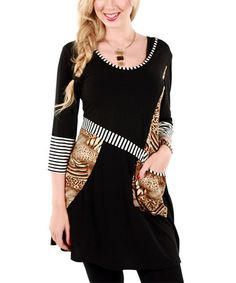 This Black & Brown Jungle Pouch Pocket Tunic by Aster is perfect! #zulilyfinds