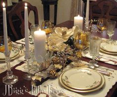 JBigg's Little Pieces: New Year's Tablescape  http://jbiggslittlepieces.blogspot.com/2012/12/new-years-tablescape.html