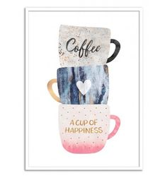 A cup of Happiness - Elisabeth Fredriksson. Positive Quote Coffee. Art-Poster and prints published by Wall Editions. Illustration Format : 50 x 70 cm