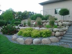 Boulder Retaining wall tiered w/ stairs - www. - Boulder Retaining wall tiered w/ stairs – www. Landscaping With Boulders, Landscaping A Slope, River Rock Landscaping, Landscaping Retaining Walls, Boulder Retaining Wall, Garden Retaining Wall, Sloped Garden, Low Retaining Wall Ideas, Hardscape Design