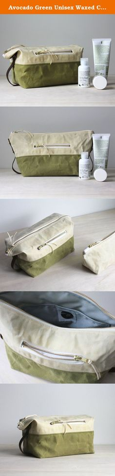 Avocado Green Unisex Waxed Canvas Dopp Kit. Made from two colors of waxed canvas and lined with a grey cordura nylon, this dopp is the perfect travel accessory! Inside features two open pockets to organize makeup, beard accessories, and more. An exterior zipped pocket lined in a soft white cotton is perfect to keep jewelry separate from beauty products. Both sides feature a leather carrying handle that also functions as a tether to snap the sides down. Snap the sides down to create a...