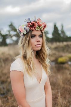 Moonlight  Bohemian Luxe Silk Flower Crown by GibsonBespoke