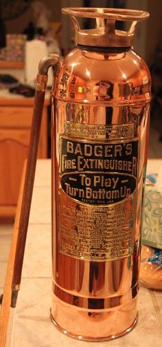Antique Polished Badger's Copper Gravity Fire Extinguisher, Circa 1901 - Empty