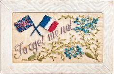 Usually embroidered by French women for the soldiers to send home as postcards.my small collection is very valued! Forget Me Not, Sketchbook Inspiration, Post Card, Embroidered Silk, Vintage Cards, French Antiques, Soldiers, Needlework, Greeting Cards