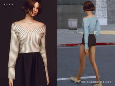 Off The Shoulder Shirt by SLYD at TSR • Sims 4 Updates