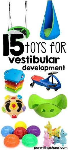 "list of the Best Toys for the Vestibular System. Awesome for parents would would like to buy ""therapy tools"" for home!Great list of the Best Toys for the Vestibular System. Awesome for parents would would like to buy ""therapy tools"" for home! Vestibular Activities, Vestibular System, Toddler Activities, Motor Activities, Physical Activities, Sensory Rooms, Autism Sensory, Sensory Play, Sensory Tubs"