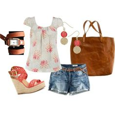 Cute summer outfit, although I would wear capris.  I prefer to go on with my day without a wedgie.  The coral color pops and the wedge heel shoes are hot.