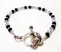 "Black with Grey Crystal Silver Beaded Bracelet,  7"" bracelet, Bridal, Birthday, Anniversary, Prom Gift"