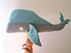 Whale linen soft sculpture pillow toy by JessQuinnSmallArt on Etsy, £38.50