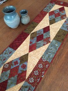 Diamond Patchwork Quilted Table Runner 14 by 46 by suomilanequilts