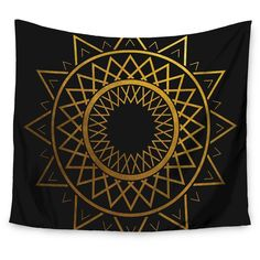 "Gold Black Matt Eklund Gilded Sundial Wall Tapestry (51""x60"") - Kess InHouse"
