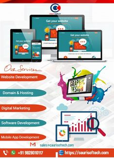 Simple but unique Web Design, Graphic Design, Digital Marketing, Software Development, Mobile App Development flyer for all IT firms.