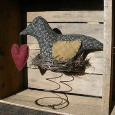 Primitive Black Bird MakeDo Nodder Heart by TeresasPrimTreasures, $18.95