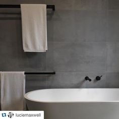 Great shot taken by our clients of their completed bathroom. Unreal concrete look tiles, perfect mat - geelong_tilesandbathware