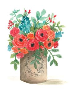 Items similar to Watercolor poppies in a vase/ watercolor wall art/ watercolor flowers/ red poppy art/ boho chic decor/ mothers day gift on Etsy Watercolor Poppies, Watercolor Walls, Red Poppies, Watercolor Paintings, Art Floral, Floral Design, Flower Vases, Flower Art, Flower Arrangements