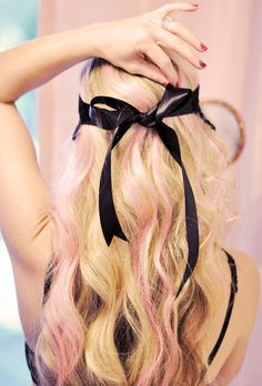 #hair pink beachy waves... ribbon bow